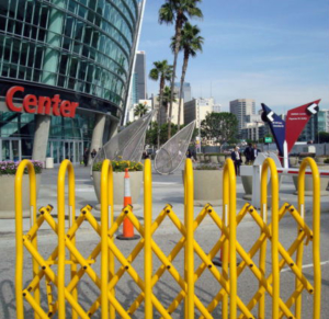 Crowd control barriers in Santa Monica